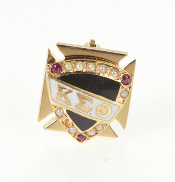 14K Kappa Epsilon Theta Fraternity Seed Pearl Yellow Gold Pin/Brooch