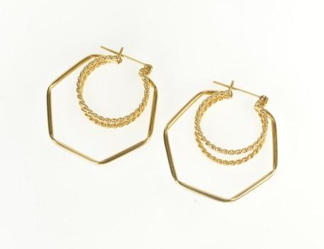 14K Layered Motif Squared Design Fashion Hoop Yellow Gold Earrings