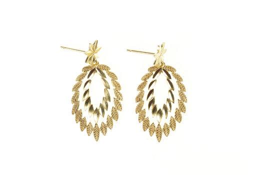 14K Leaf Petal Design Oval Dangle Statement Yellow Gold Earrings