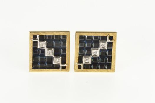 14K Lucien Piccard Squared Geometric Sapphire Diamond Yellow Gold Cuff Links