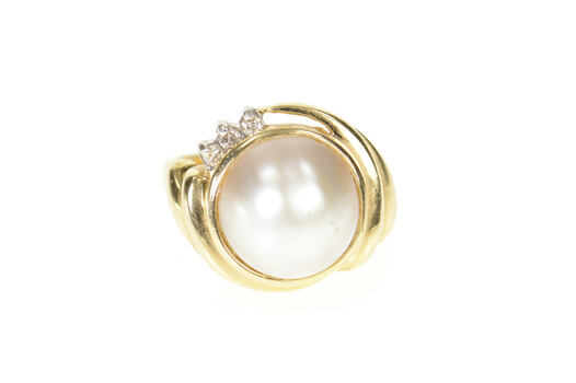 14K Mabe Pearl Diamond Accent Retro Statement Yellow Gold Ring, Size 6.25