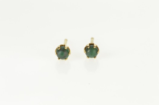 14K Malachite Sphere Inset Retro Stud Yellow Gold Earrings