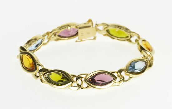 "14K Marquise Amethyst* Blue Topaz* Citrine* Inset Yellow Gold Bracelet 6.75"""