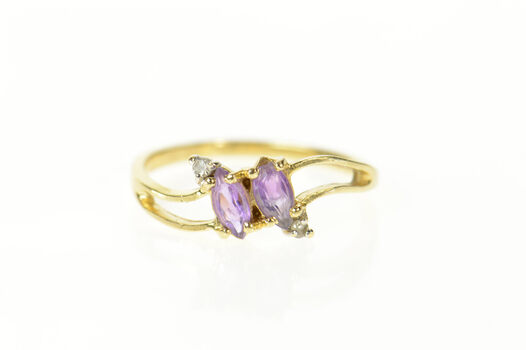 14K Marquise Amethyst Diamond Accent Bypass Yellow Gold Ring, Size 6