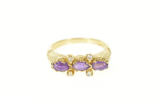 14K Marquise Amethyst Diamond Accent Ornate Yellow Gold Ring, Size 5.75