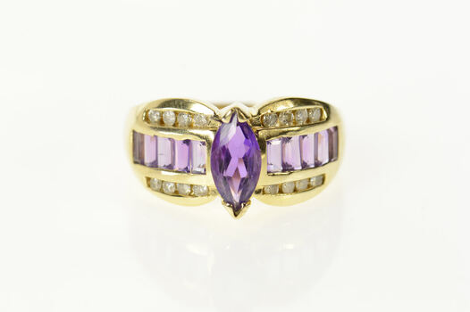 14K Marquise Amethyst Diamond Accent Statement Yellow Gold Ring, Size 9.75