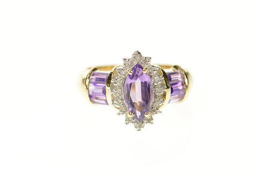14K Marquise Amethyst Diamond Halo Statement Yellow Gold Ring, Size 6.25