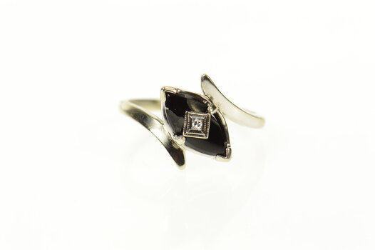 14K Marquise Black Onyx Diamond Ornate Bypass White Gold Ring, Size 8.25