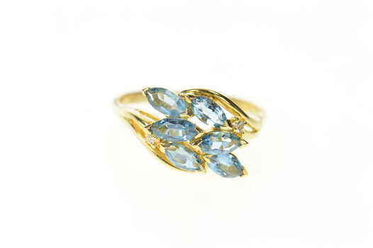 14K Marquise Blue Topaz Diamond Accent Bypass Yellow Gold Ring, Size 9.25