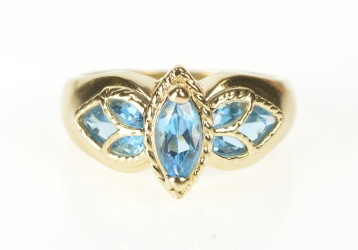14K Marquise Blue Topaz Ornate Fashion Yellow Gold Ring, Size 6.75