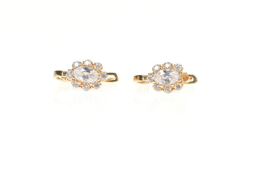 14K Marquise Cubic Zirconia Halo Lever Back Yellow Gold Earrings