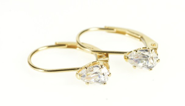14K Marquise Cubic Zirconia Solitaire Lever Back Yellow Gold Earrings