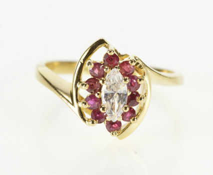 14K Marquise CZ Ruby Halo Travel Engagement Yellow Gold Ring, Size 6.75