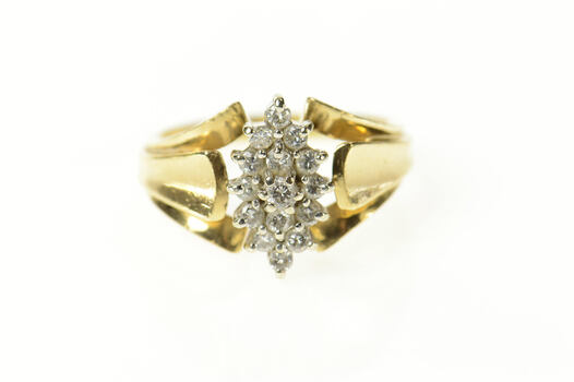 14K Marquise Diamond Cluster Classic Statement Yellow Gold Ring, Size 8.75