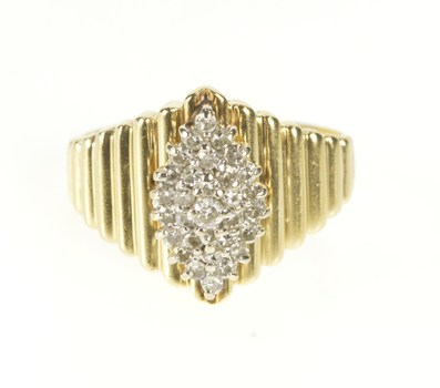 14K Marquise Diamond Cluster Grooved Statement Yellow Gold Ring, Size 9.25