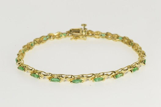 "14K Marquise Emerald Diamond X Link Tennis Yellow Gold Bracelet 7"""