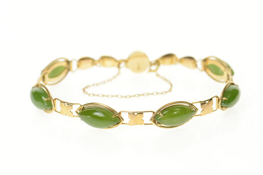"""14K Marquise Nephrite Chinese Happiness Clasp Yellow Gold Bracelet 7.25"""""""