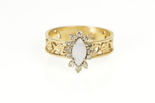 14K Marquise Opal Diamond Halo Vine Engagement Yellow Gold Ring, Size 6.75