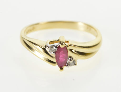 14K Marquise Ruby Diamond Accent Engagement Yellow Gold Ring, Size 6.25
