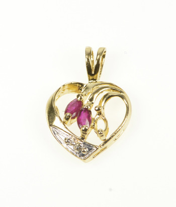 14K Marquise Ruby Diamond Accent Heart Love Yellow Gold Pendant