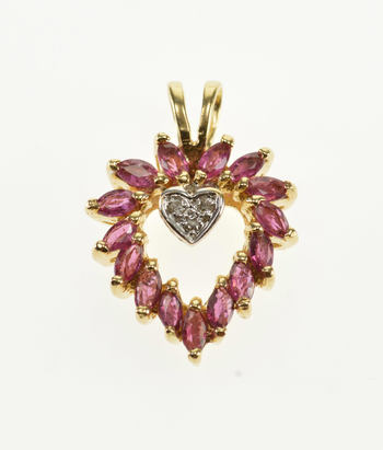14K Marquise Ruby Diamond Accented Heart Yellow Gold Pendant
