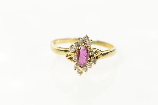 14K Marquise Ruby Diamond Bypass Statement Yellow Gold Ring, Size 8