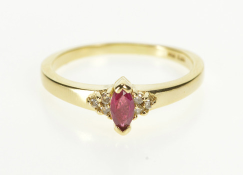 14K Marquise Ruby Diamond Cluster Engagement Yellow Gold Ring, Size 8