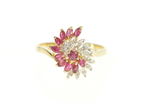 14K Marquise Ruby Diamond Fanned Swirl Cocktail Yellow Gold Ring, Size 9.25