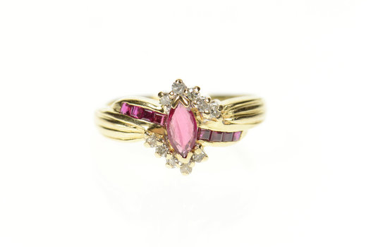 14K Marquise Ruby Diamond Halo Bypass Statement Yellow Gold Ring, Size 8.5