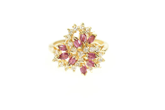 14K Marquise Ruby Diamond Swirl Cluster Cocktail Yellow Gold Ring, Size 6.25