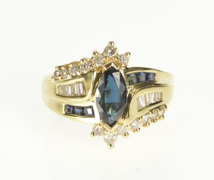 14K Marquise Sapphire Diamond Accent Bypass Yellow Gold Ring, Size 5.75