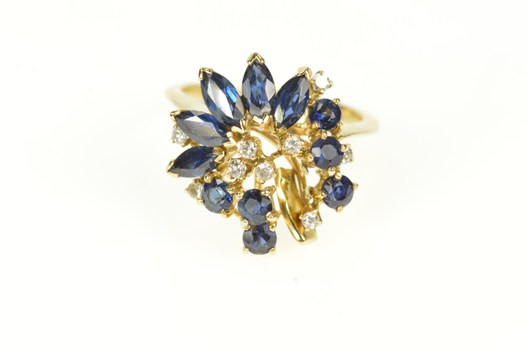 14K Marquise Sapphire Diamond Cluster Cocktail Yellow Gold Ring, Size 4.5