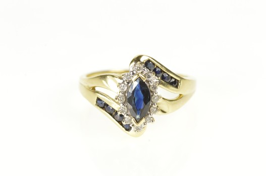 14K Marquise Sapphire Diamond Halo Bypass Yellow Gold Ring, Size 7