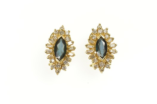 14K Marquise Sapphire Diamond Halo French Clip Yellow Gold Earrings
