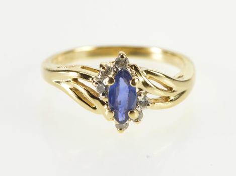 14K Marquise Sapphire Diamond Semi Halo Bypass Yellow Gold Ring, Size 2.75