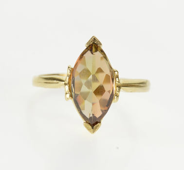 14K Marquise Smokey Quartz Solitaire Reverse Set Yellow Gold Ring, Size 7.25