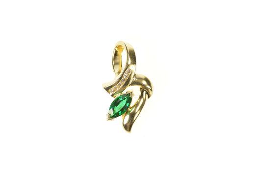14K Marquise Syn. Emerald Diamond Wavy Loop Yellow Gold Pendant