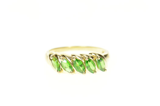 14K Marquise Syn. Emerald Statement Band Yellow Gold Ring, Size 8