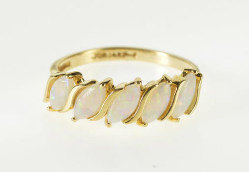 14K Marquise Syn. Opal Five Stone Wavy Design Yellow Gold Ring, Size 6.25
