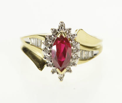 14K Marquise Syn. Ruby Diamond Halo Accent Yellow Gold Ring, Size 5.75