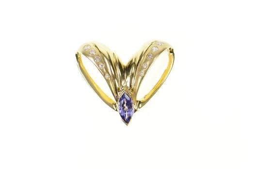 14K Marquise Tanzanite Diamond Inset Chevron Yellow Gold Pendant