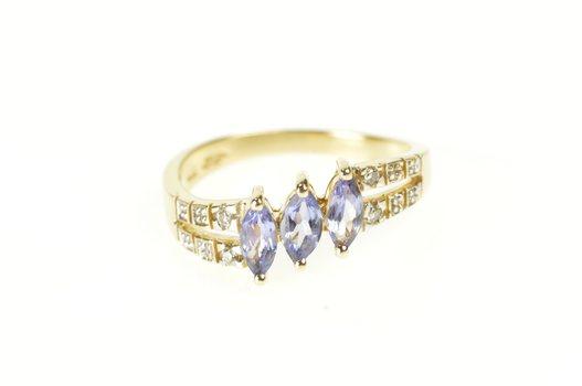 14K Marquise Tanzanite Diamond Tiered Bypass Yellow Gold Ring, Size 7.5