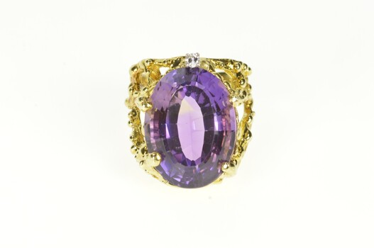 14K Massive Amethyst Diamond Abstract Cocktail Yellow Gold Ring, Size 5