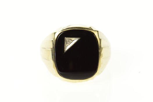 14K Men's Black Onyx Diamond Inlay Men's Yellow Gold Ring, Size 8.75