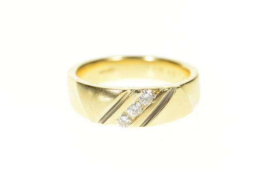 14K Men's Classic Grooved Diamond Wedding Band Yellow Gold Ring, Size 10