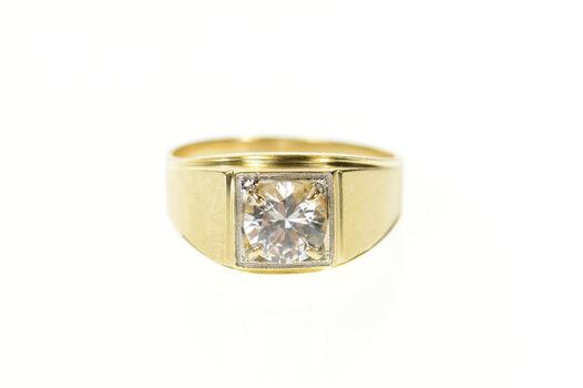 14K Men's Classic Squared Retro Wedding Yellow Gold Ring, Size 7