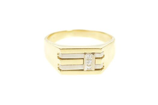 14K Men's Diamond Two Tone Squared Wedding Yellow Gold Ring, Size 12.5