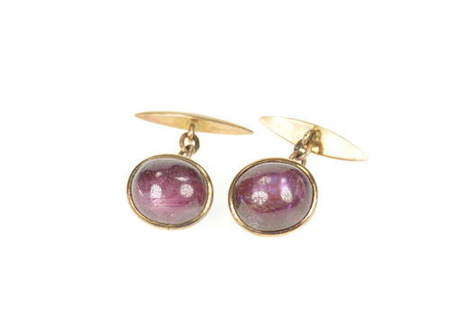 14K Men's Oval Natural Star Ruby Cabochon Chain Yellow Gold Cuff Links