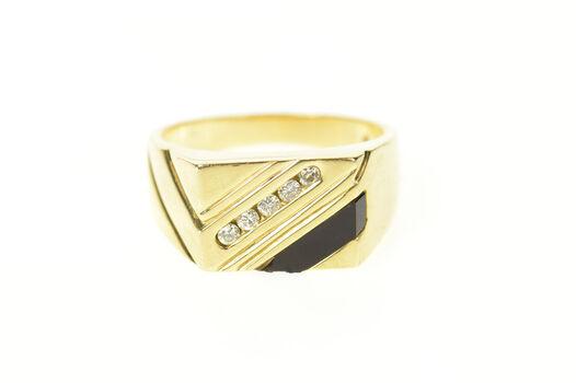 14K Men's Square Black Onyx Diamond Striped Yellow Gold Ring, Size 9.75