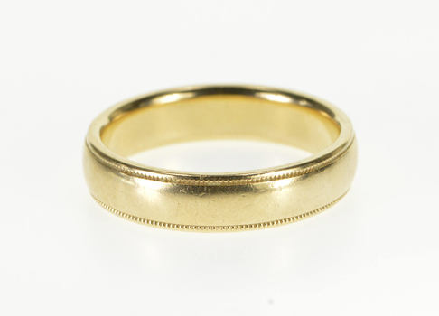 14K Milgrain Grooved Pattern Rounded Wedding Band Yellow Gold Ring, Size 9